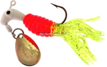 Road Runner 1802-066 Crappie Thunder Jig w/Spinner, 1/16 oz, White/Red/Chartreuse Strip, Strip Card